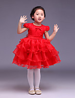 Ball Gown Knee-length Flower Girl Dress - Satin/Tulle Short Sleeve