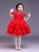 꽃의 소녀 드레스 - 볼 가운 짧은 소매 무릎길이 사틴/명주그물