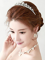 Hot sale Imitation Pearl/Rhinestones Titanium Jewelry Sets/Necklace with Earrings with Tiara