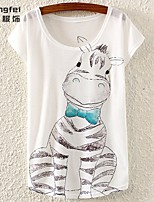 Women's Print Multi-color T-shirt Short Sleeve