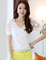 xiw&F Women's Casual/Work/Plus Sizes Beaded V Neck ½ Length Sleeve Blouse (Chiffon/Polyester)