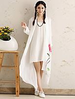 Women's Print/Solid White Long Sleeve