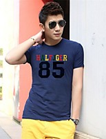 Men's Short Sleeve T-Shirt , Elastic/Lycra Casual Print