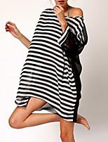 Women's Sexy Beach Casual Cute Inelastic Long Sleeve Long Blouse (Chiffon)