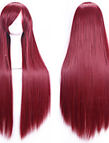 New Anime Cosplay Red Wine Long Straight Hair Wig 80CM