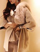 Women's Solid Beige Coat , Party Long Sleeve Wool Blends