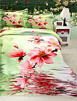 Green/Pink Polyester/Poly/Cotton King Duvet Cover Sets