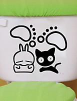 Wall Stickers Wall Decals Style Cat Toilet Bathroom Decoration PVC Wall Stickers