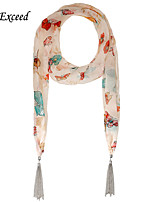 D Exceed Women's Multifuction Chiffon with Tassles Pendant Scarves Butterfly Print Color Mixed Accessories Scarf
