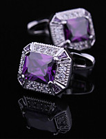 Toonykelly® Fashion Copper Silver Plated Purple Crystal Zircon Shirt Button Cufflink(1 Pair)