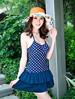 Women's Summer Beach Dot Push Up Skirt Style One Pieces Swimwear Navy Blue