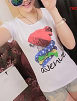 Women's Print Red/Black/Yellow T-shirt , Round Neck Short Sleeve