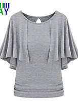 ZAY Women's Casual Solid Round Lotus Leaf Sleeve Loose T-shirt