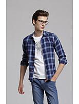 Men's Casual Plaids & Checks Long Sleeve Regular Shirt
