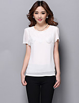 Women's Solid/Patchwork/Lace Red/White/Black Blouse , Round Neck Short Sleeve Lace/Hollow Out