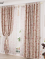 (One Panel)Country Double-sided Printed  Suede Red Flower  Blackout Curtain