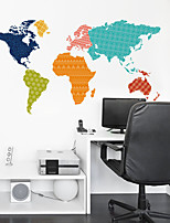 Wall Stickers Wall Decals, Creative Colors Map PVC Wall Sticker