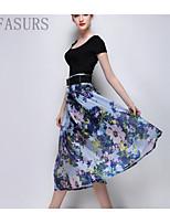 Women's Beach/Casual/Cute/Party Micro-elastic Medium Midi Skirts (Polyester)