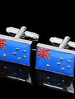 Men's Australian National Flag Enamel Blue Silver Wedding Cufflinks