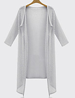 Women's White/Black/Gray Cardigan , Casual ¾ Sleeve