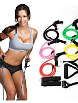 Natural Tension Health Elastic Exercise Stretch Belt Pull Rope Strap with Handle Sport Resistance Bands (Random Color)