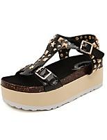 Chaussures Femme - Décontracté - Noir / Argent - Plateforme - A Plateau / Bout Ouvert - Sandales - Similicuir