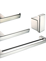 Polish Stainless Steel Bathroom Accessories Set with Towel Ring Robe Hook Toilet Paper Holder and Double Towel Bar