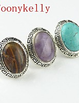 Toonykelly Vintage Antique Silver Tiger Stone Turquoise Amethyst RoundOval Adjustable Ring(1pcs)