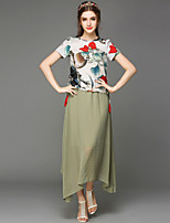 Large size women 2015 new printing China draw great long skirt suit shirt pure lady party dress Women's CLOTHING
