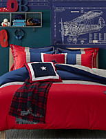 H&C 100% Cotton 900TC Duvet Cover Set 4-Piece White, Red And Blue Solid Color Joint  OT2-005