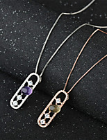 Women's Gold/Silver Necklace Pendant With Crystal  Inlaid Mosaic Micro Plated   Genuine Natural Jewelry