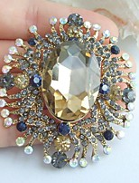 2.36 Inch Gold-tone Multicolor Rhinestone Crystal Flower Brooch Pendant Art Decorations
