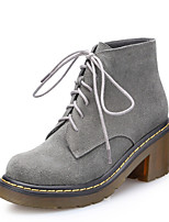 Women's Shoes Leather/Silk Chunky Heel Fashion Boots/Round Toe Boots Casual Black/Gray