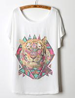 Women's Print/Character/Geometric White T-shirt , Round Neck Short Sleeve