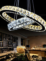 Crystal LED Pendant Lights Chandelier Lighting with Two Rings D4060 Warm and Cool White Ceiling Lights Fixtures CE UL