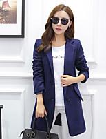 Women's Casual/Party/Work Medium Long Sleeve Long Coat (Wool Blends)