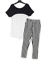 Women's Sexy Casual Cute Plus Sizes Inelastic Short Sleeve Regular T-shirt (Chiffon)