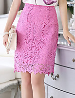 Women's Print Pink Skirts , Casual/Print Knee-length Flower
