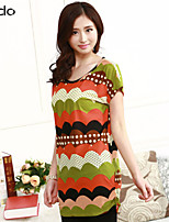 Women's Print Multi-color T-shirt , Round Neck Short Sleeve