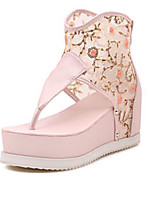 Women's Shoes Tulle Platform Round Toe Sandals Casual Pink/White