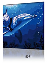 DIY Digital Oil Painting With Solid Wooden Frame Family Fun Painting All By Myself            Dolphin Love5091