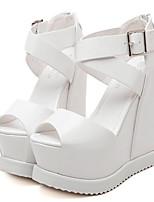 Chaussures Femme - Décontracté - Noir / Blanc - Talon Compensé - Styles - Sandales - Similicuir
