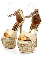 Women's Shoes Faux Leather Stiletto Heel Peep Toe/Platform/Gladiator Sandals Party & Evening/Dress/Casual Black/Beige