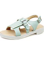 Chaussures Femme Similicuir Talon Bas Bout Ouvert Sandales Habillé Bleu/Rose/Blanc