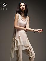 Women's Solid Pink/Beige T-shirt , Round Neck Sleeveless Layered