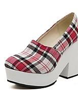 Women's Shoes Denim Chunky Heel Heels Pumps/Heels Casual Black/Red