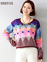 Women's Casual/Cute Stretchy Medium Long Sleeve Pullover (Knitwear) SF7B45