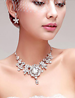 Gorgeous Rhinestone/Titanium Wedding Necklace With Earings