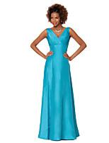 Vestido - Azul de céu claro Festa Formal Tubo/Coluna Decote em V Longo Tafetá