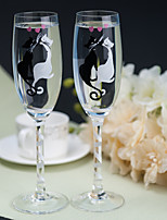 Color Hand-painted Toasting Flutes (Set of 2)---- Kiss Cat